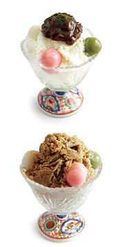 八ッ橋茶屋の「みるく氷」と「黒糖氷」